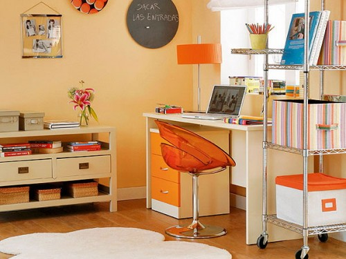 Bright Orange Home Office Design