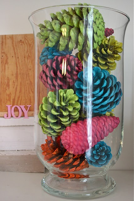 Bright Spray Painted Pinecones In A Vase
