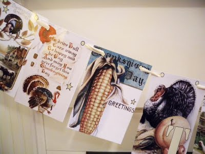 a vintage Thanksgiving card garland is a timeless idea and you can easily make one yourself