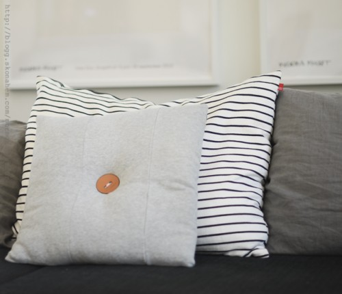 Casual DIY Button Cushion Of Old Pants - Shelterness