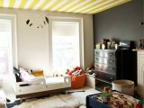 Stripes is a popular solution for ceiling painting