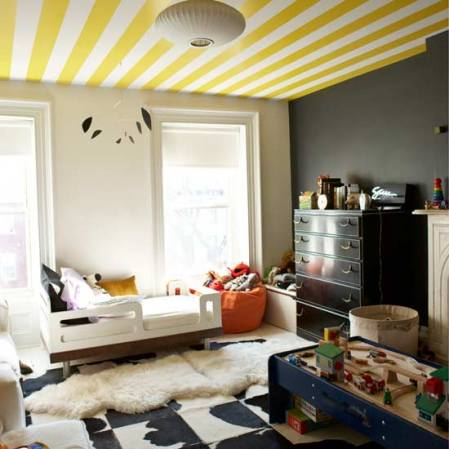 stripes is a popular solution for ceiling painting - Ceiling Design Ideas