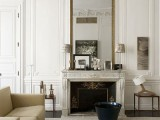 elegant molding on the ceiling and on the upper part of the adds chic to the space