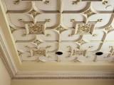 unique molding with a geometric touch and embellishments will make your ceiling a statement in your space