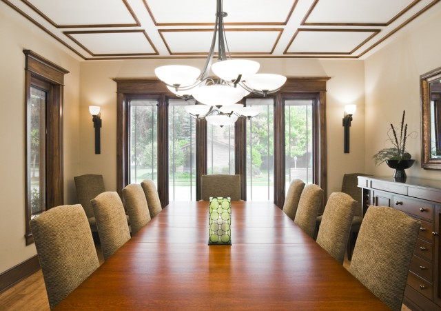 simple metallic trim on the ceiling makes it very eye catching and helps to create a mood