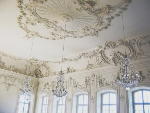 vintage and super elegant ceiling moldings plus crystal chandelier make up a fantastic look with a wow effect