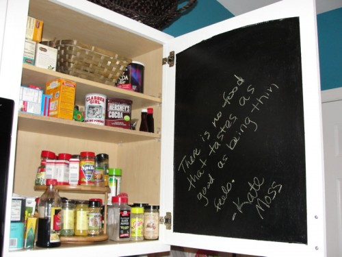 Grocery List Chalkboard Inside Kitchen Cabinet Door