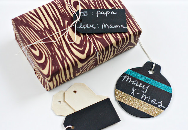 chalkboard gift tags of different shapes
