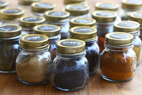 organizing spices with chalkboard circles (via acozykitchen)