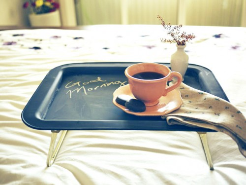 chalkboard tray for breakfast serving