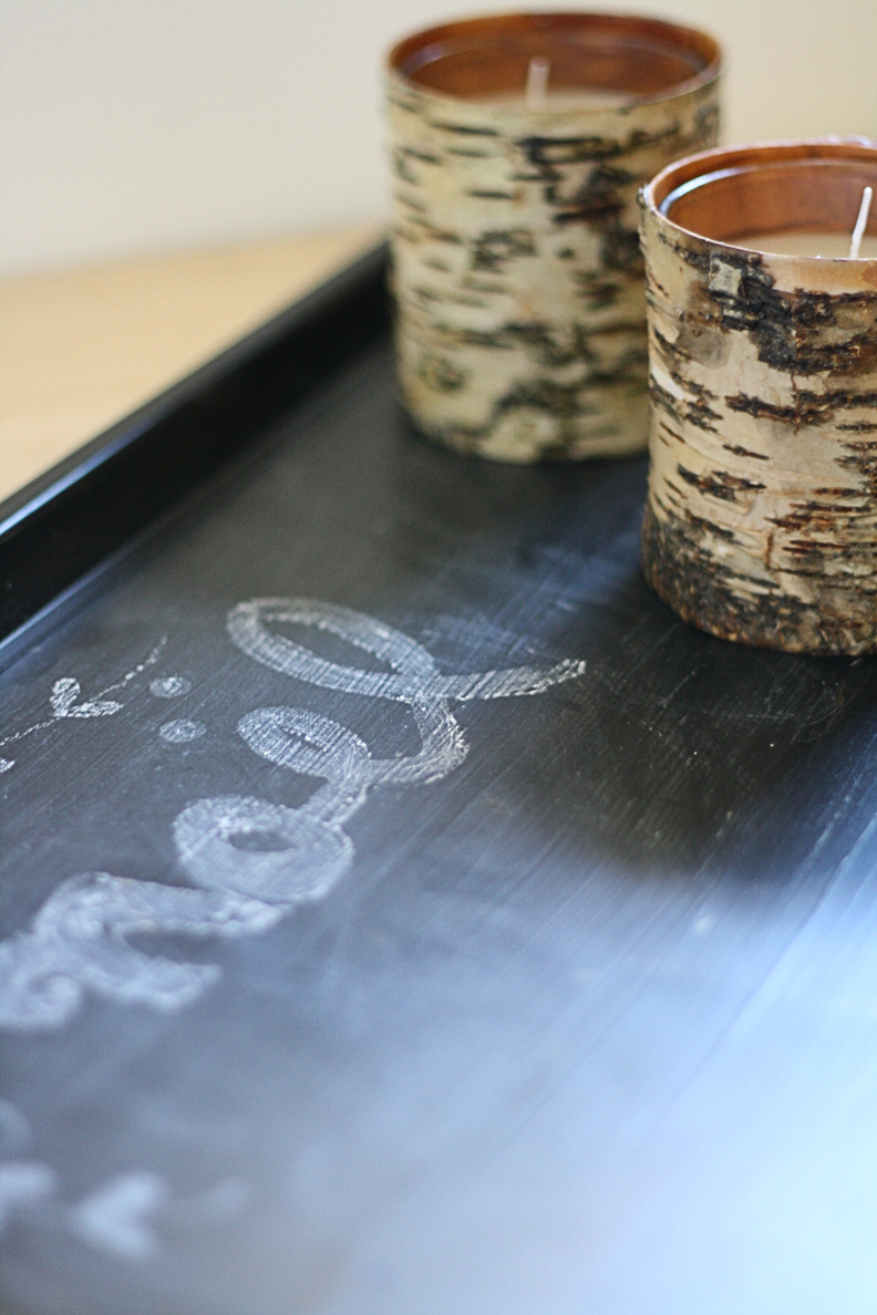 simple chalkboard tray