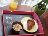 wooden breakfast chalkboard tray