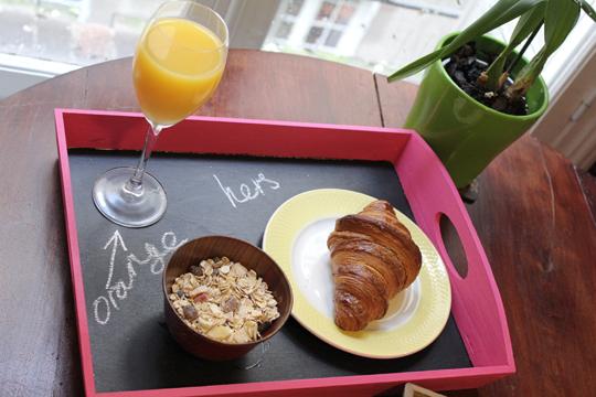 wooden breakfast chalkboard tray