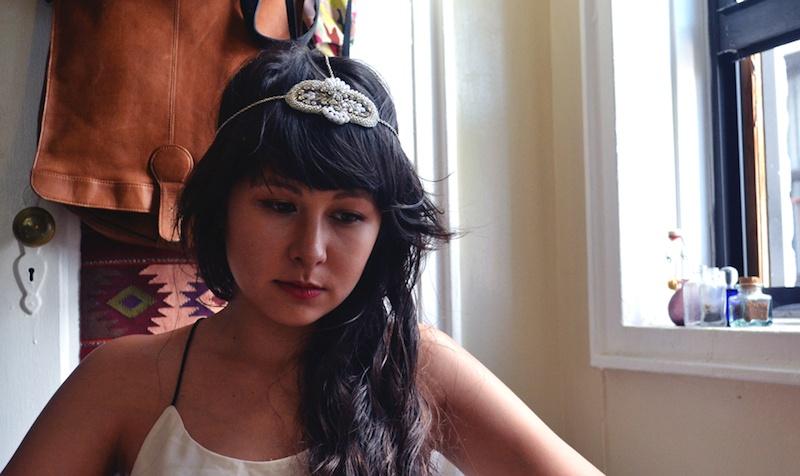 beaded applique headpiece