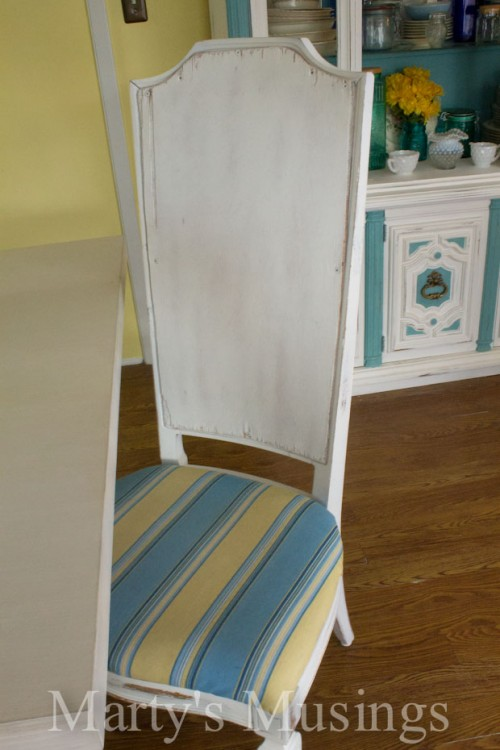 striped shabby chic kitchen chairs (via martysmusings)