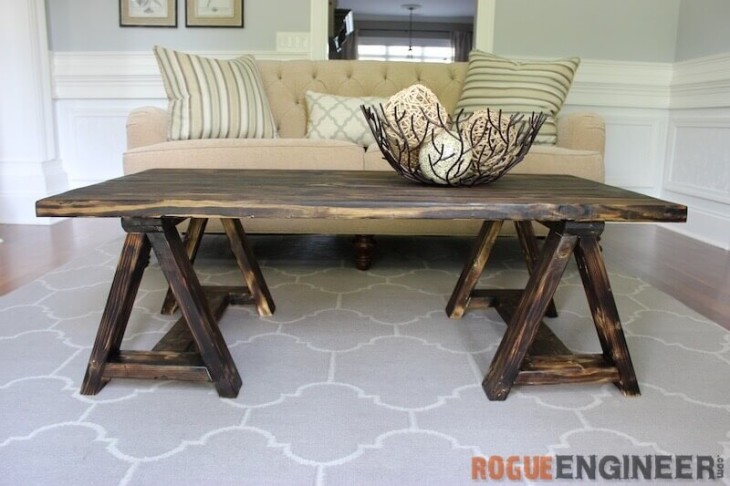 Picture Of Charming Vintage Diy Sawhorse Coffee Table 1