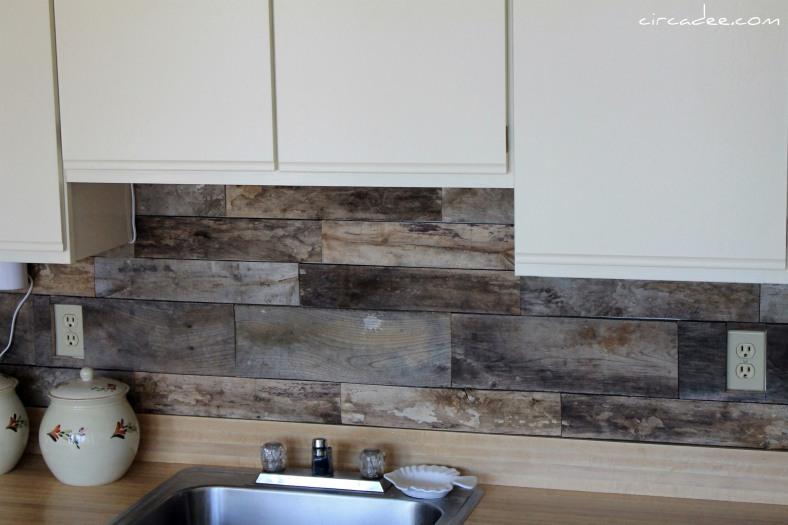 Picture of cheap diy rustic kitchen backsplash for Cheap kitchen backsplash diy