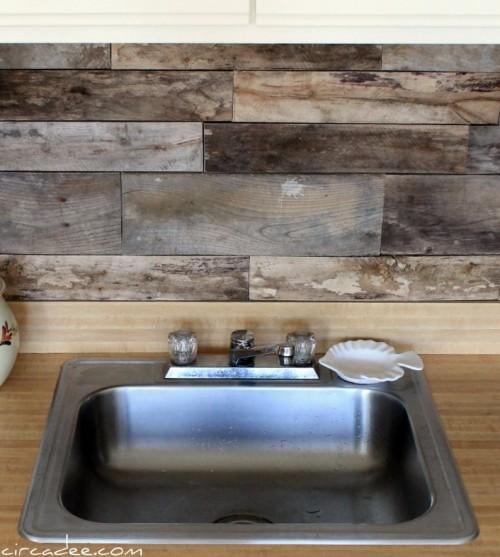 Cheap diy rustic kitchen backsplash shelterness for Cheap backsplash diy