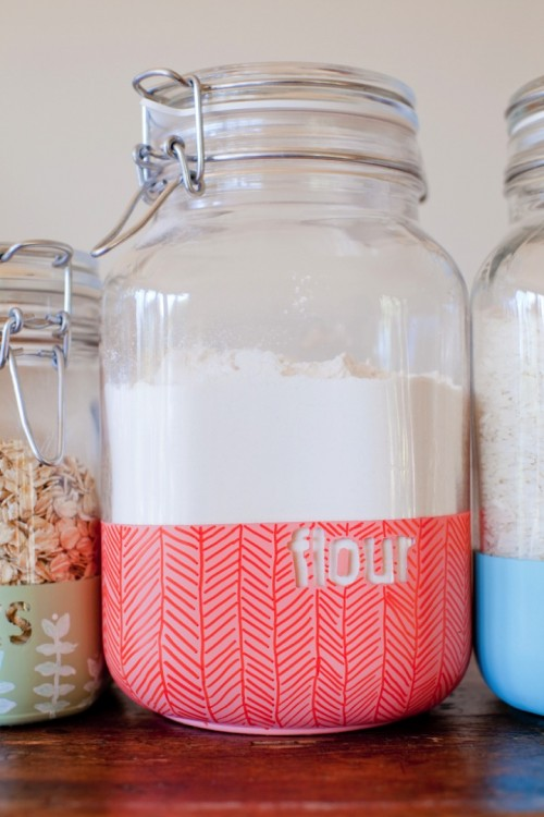 Cheerful And Bold DIY Dipped Kitchen Jars