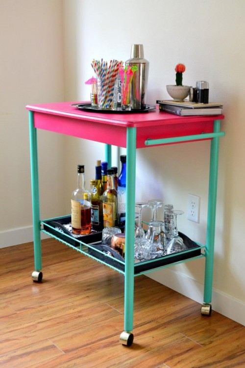 Cheerful And Colorful Diy Bar Cart Makeover