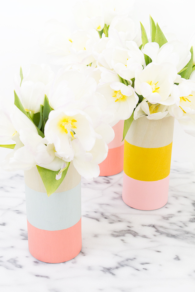 Picture Of cheerful diy color blocked wood vases  1