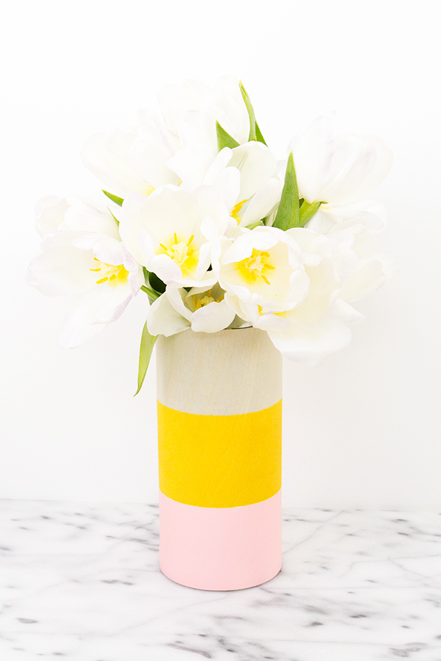 Picture Of cheerful diy color blocked wood vases  2