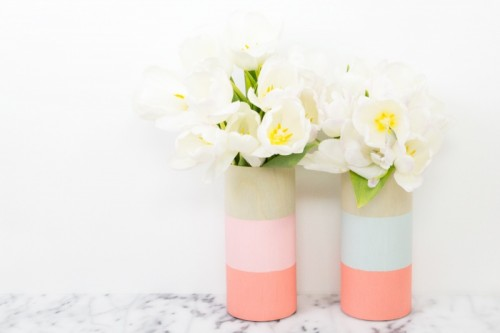 Cheerful DIY Color Blocked Wood Vases