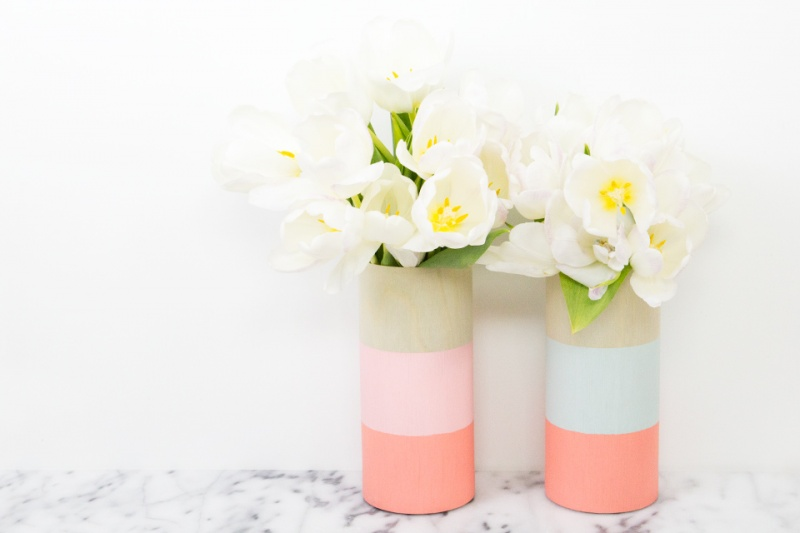 Picture Of cheerful diy color blocked wood vases  3