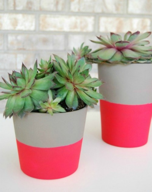 12 Cheerful DIY Painted And Dipped Planters To Make