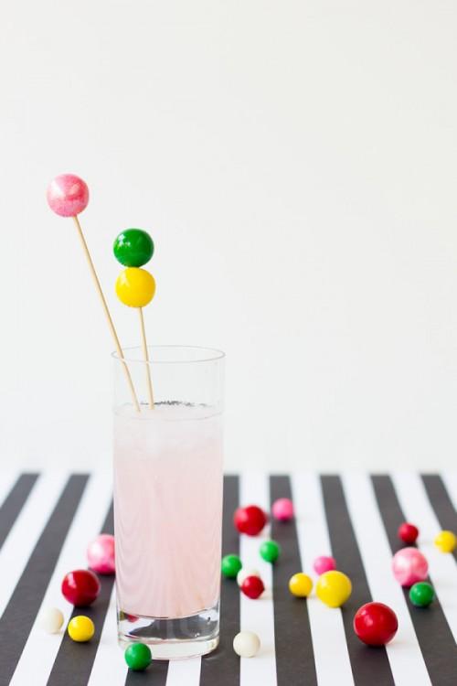 gumball drink stirrers (via studiodiy)