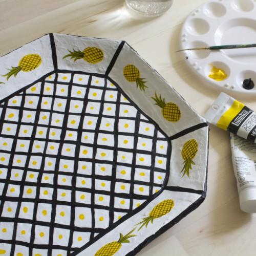 Cheerful DIY Paper Mache Pineapple Tray