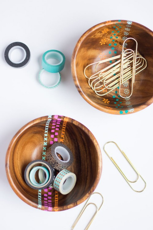 Cheerful Spring Inspired DIY Stenciled Wood Bowls