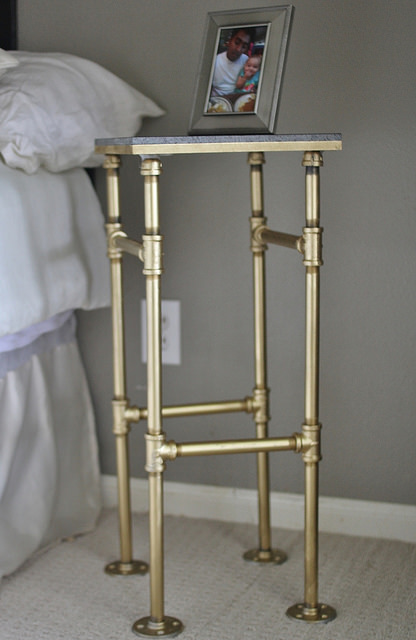 black and gold industrial nightstand