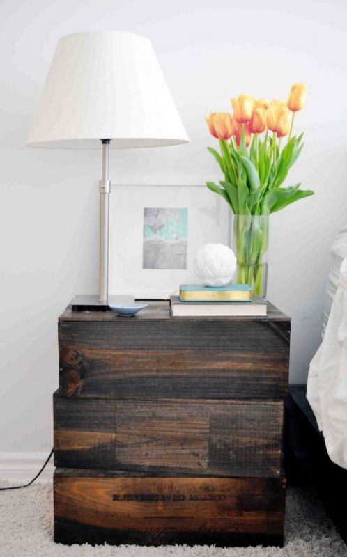rustic industrial nightstand of crates (via shelterness)