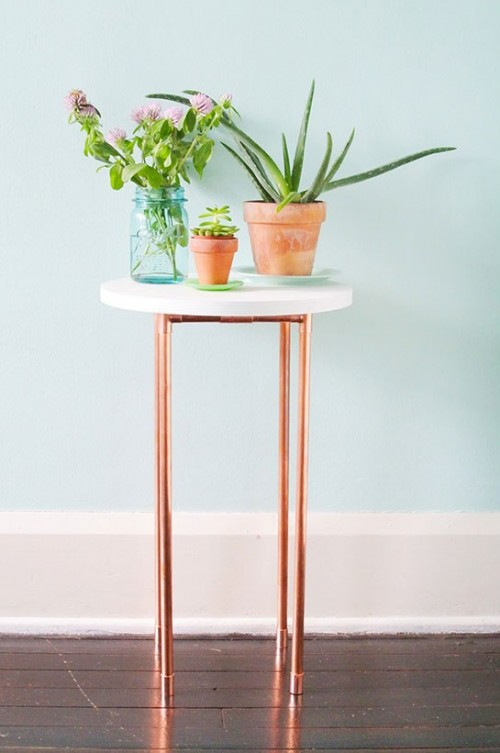 industrial copper pipe nightstand (via homedecority)