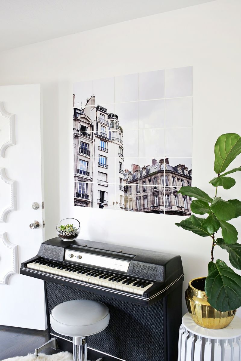 Picture Of chic and trendy diy oversized tiled wall art  6