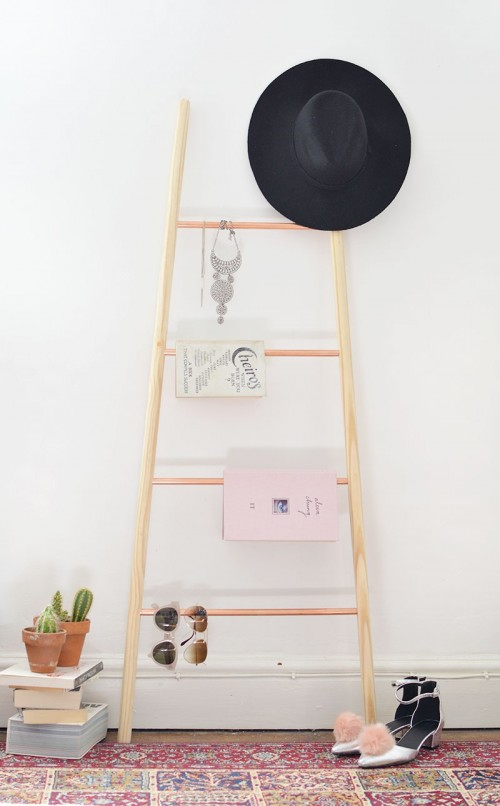 Chic DIY Copper And Wood Ladder Shelf