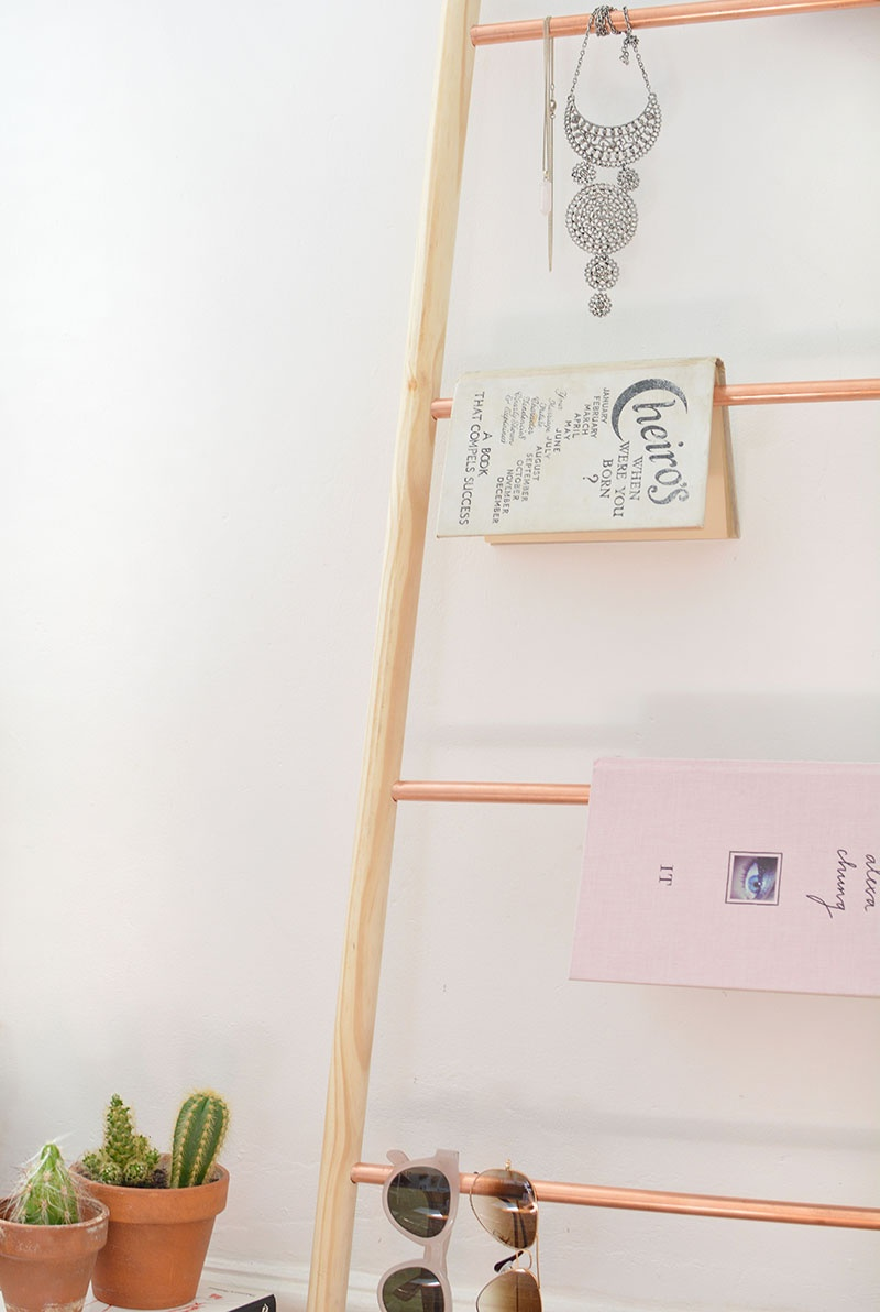 Picture Of chic diy copper and wood ladder shelf  3