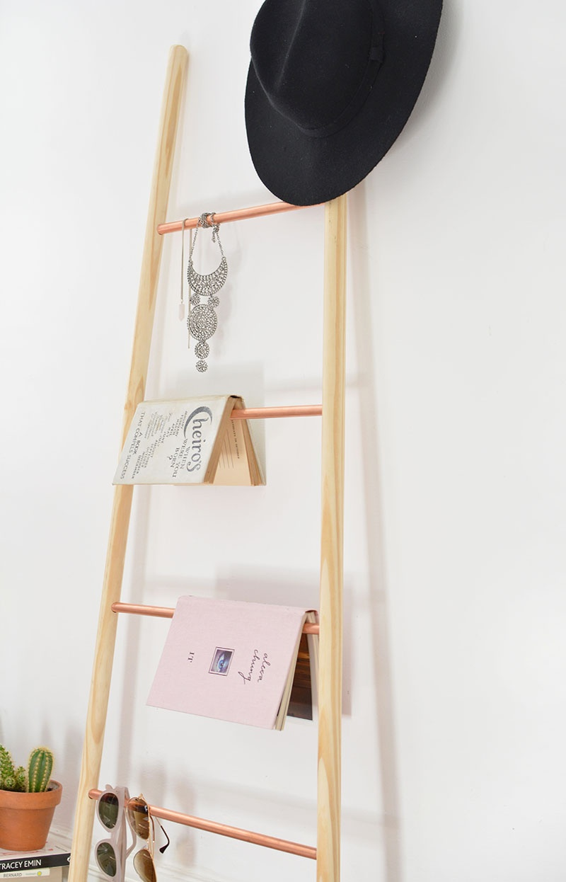 Picture Of chic diy copper and wood ladder shelf  6