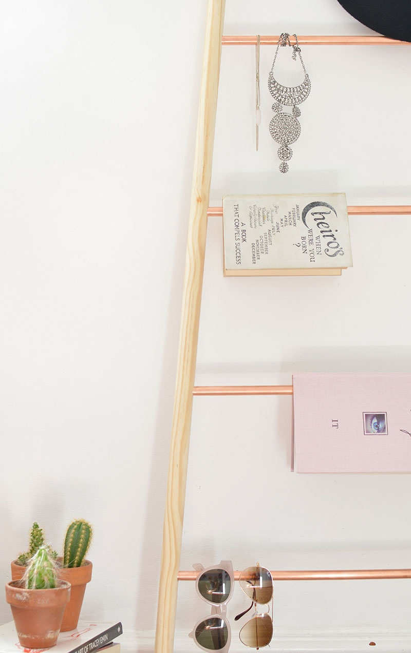 Picture Of chic diy copper and wood ladder shelf  7