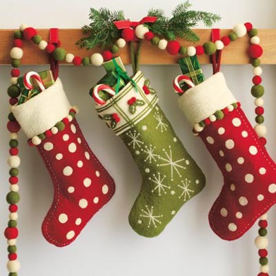 take a break from kitschy patterns and try out some bold colorful ones - Christmas Socks Decoration