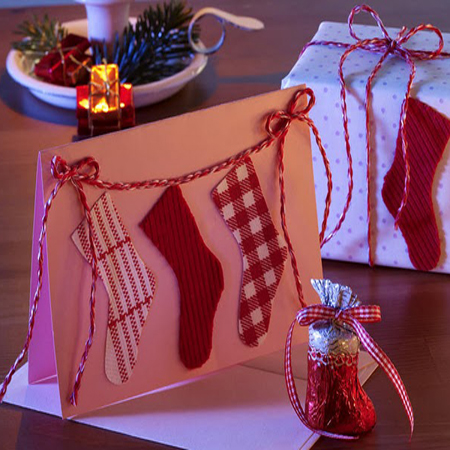 Stockings-inspired place cards are great things to add to your festive holiday table setting.