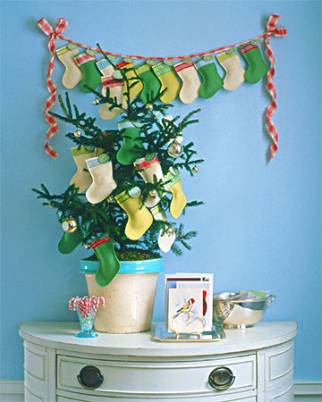 Mini stockings could hold small gifts and you can hang them onto lots of things. For example, they could become ornaments for a small Christmas tree.