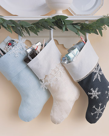 Stockings in quiet hues with touches of blue, grey and white are perfect to create a sense of magic in Scandinavian interiors.