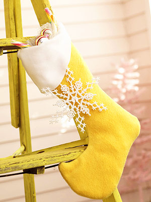 Snowflakes are perfect to make stockings more interesting.