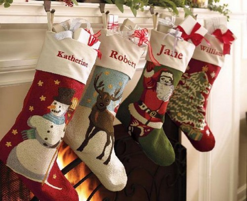 Cross-stitched Santa, snowman, Christmas tree and other traditional motifs looks great mixed together.