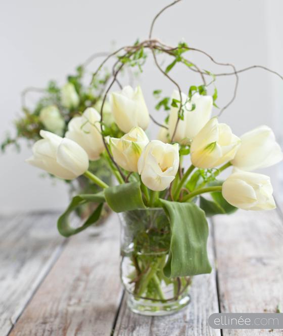 DIY fresh flower and willow centerpiece