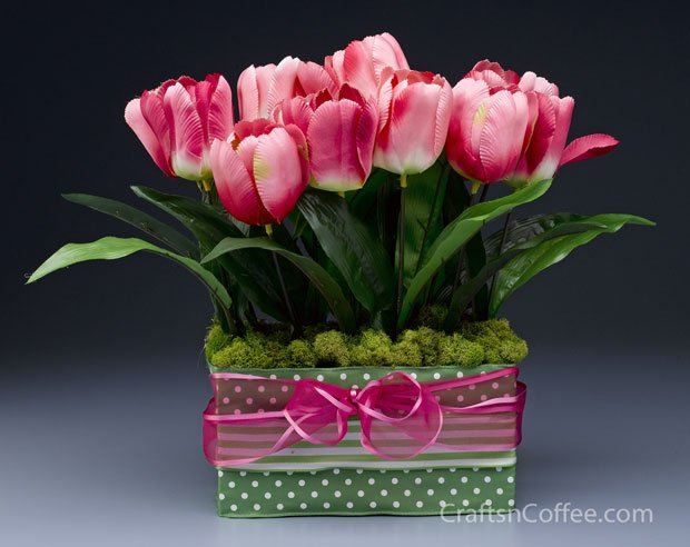 tulips and moss centerpiece