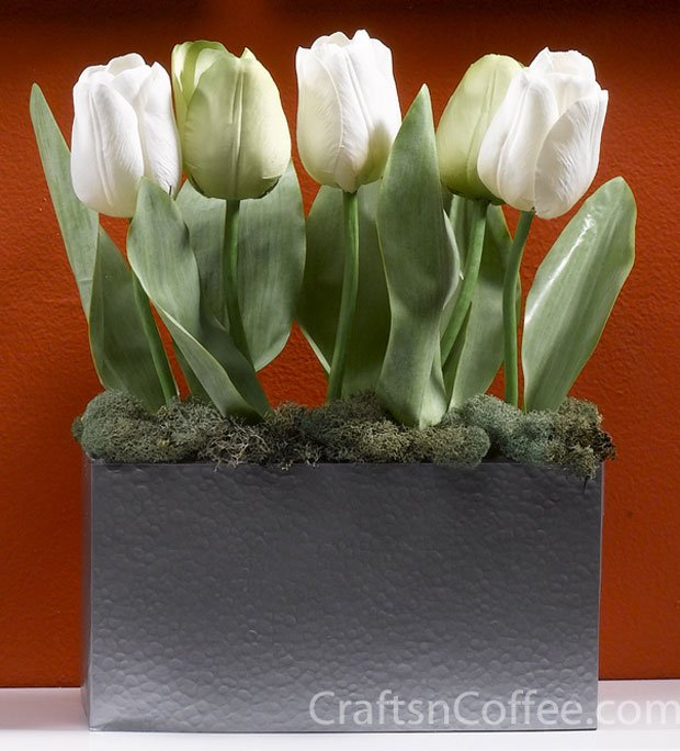 white tulips container