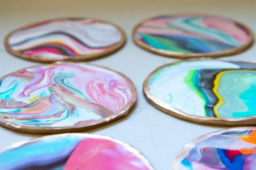 Colorful And Glossy DIY Marble Coasters
